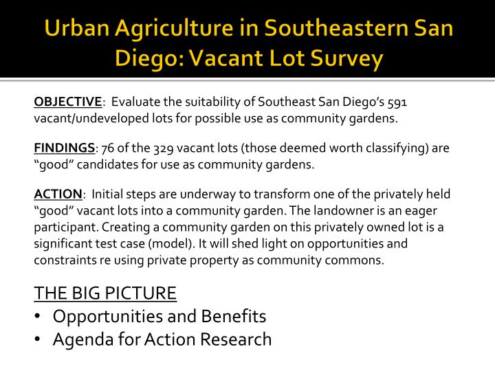 urban agriculture in southeastern san diego vacant lot survey n.