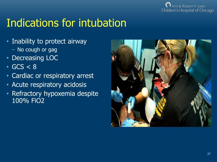 Indications for intubation