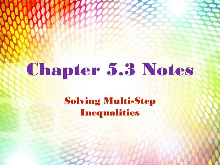 Chapter 5 3 notes