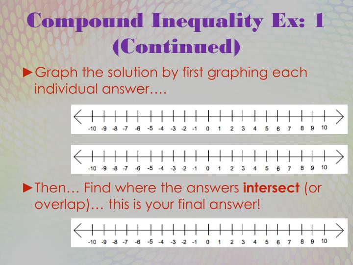 Compound Inequality Ex: 1 (Continued)