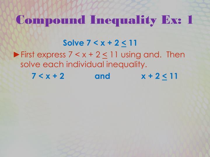 Compound Inequality Ex: 1