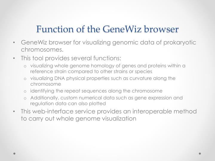 Function of the genewiz browser