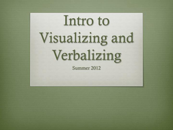 intro to visualizing and verbalizing n.