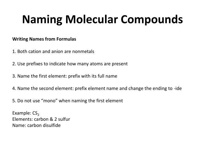 Naming Molecular Compounds