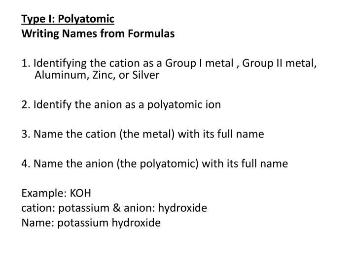 Type I: Polyatomic