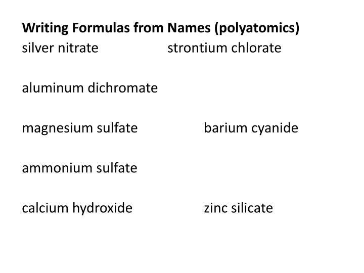 Writing Formulas from Names (