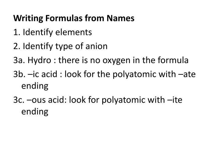 Writing Formulas from Names