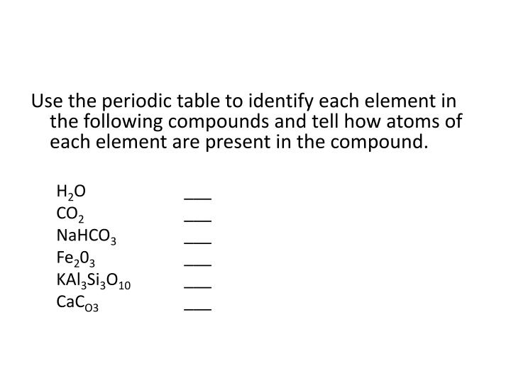 Use the periodic table to identify each element in the following compounds and tell how atoms of each element are present in the compound.