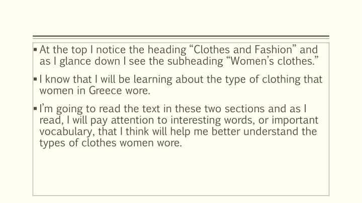 "At the top I notice the heading ""Clothes and Fashion"" and as I glance down I see the subheading ""Women's clothes."""