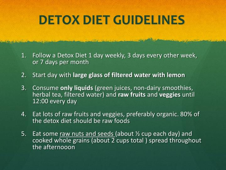 DETOX DIET GUIDELINES