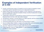 examples of independent verification at c ad