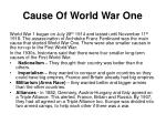 cause of world war one