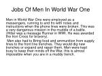 jobs of men i n world war one