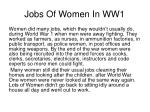 jobs of women in ww1