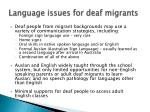 language issues for deaf migrants