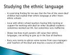 studying the ethnic language