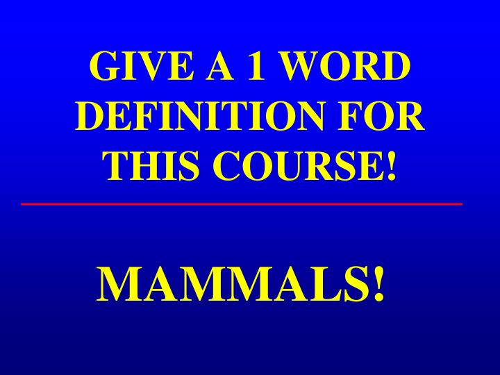 Give a 1 word definition for this course