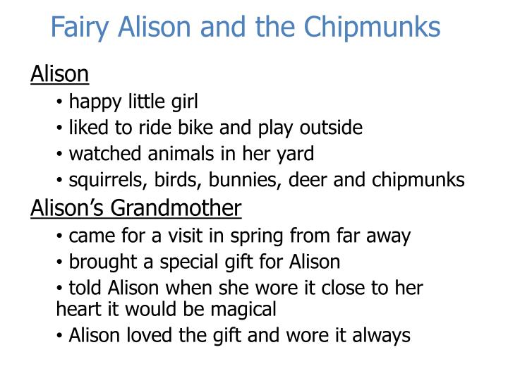 fairy alison and the chipmunks n.