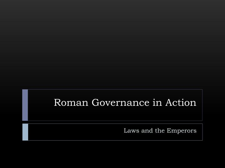 roman governance in action n.