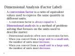 dimensional analysis factor label