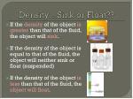 density sink or float