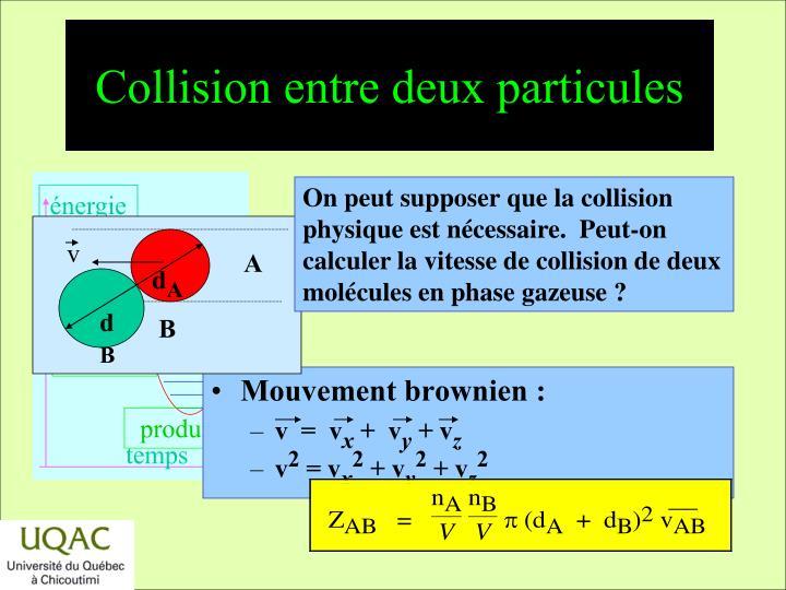 Collision entre deux particules