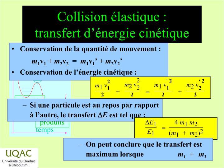 Collision élastique :