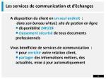 les services de communication et d changes
