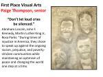 first place visual arts paige thompson senior