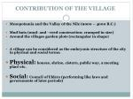 contribution of the village