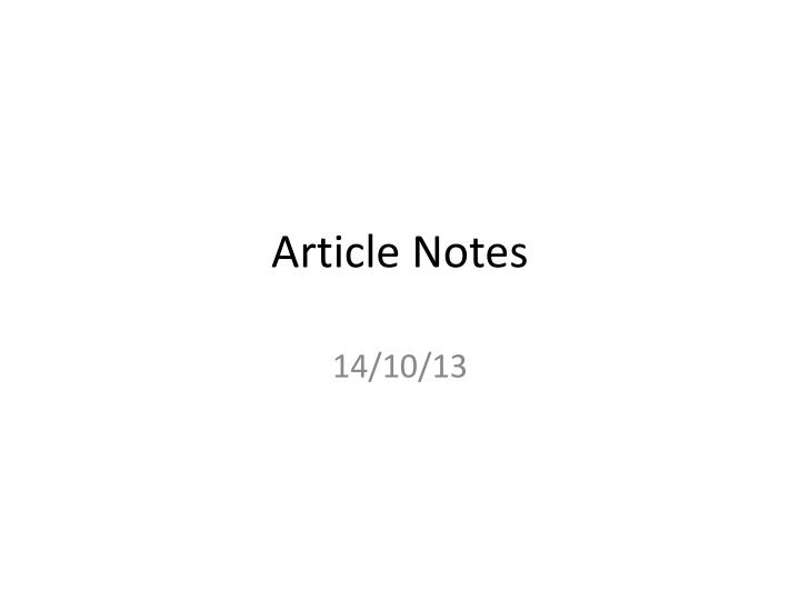 article notes n.