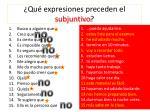 qu expresiones preceden el subjuntivo