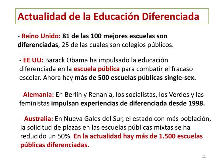 Actualidad de la Educación Diferenciada