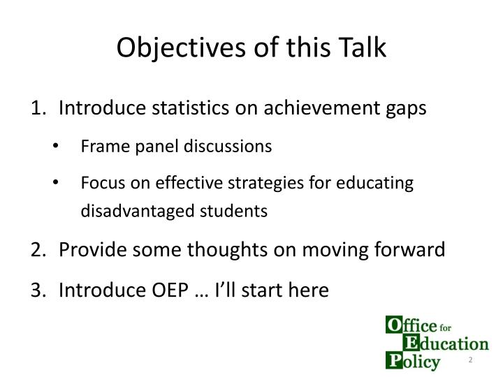 Objectives of this talk