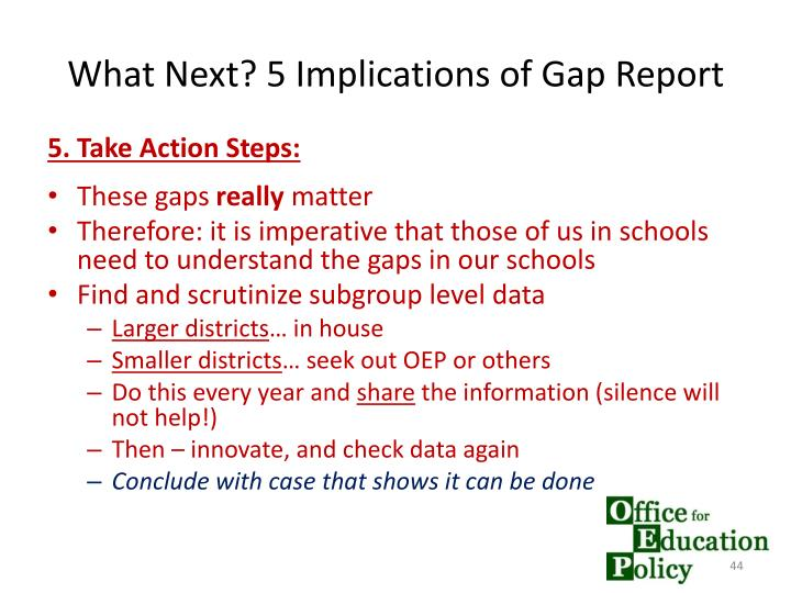 What Next? 5 Implications of Gap Report