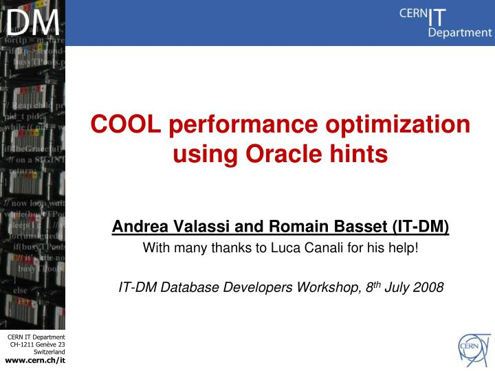 cool performance optimization using oracle hints n.