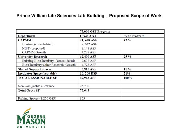 Prince William Life Sciences Lab Building – Proposed Scope of Work