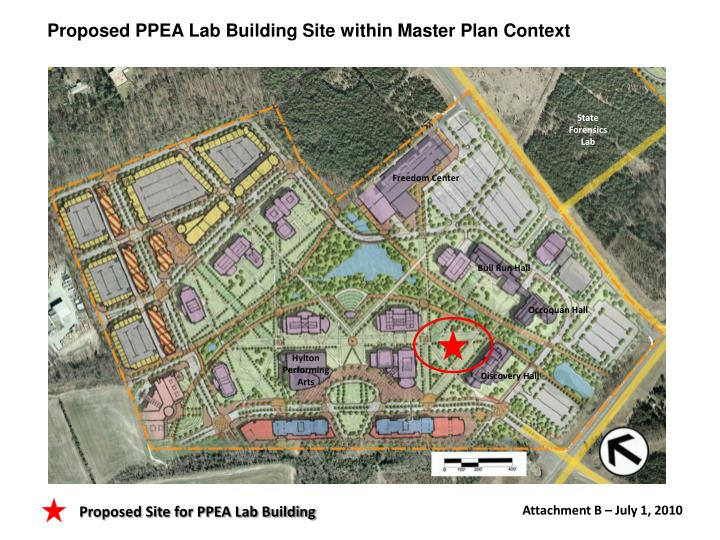Proposed PPEA Lab Building Site within Master Plan Context