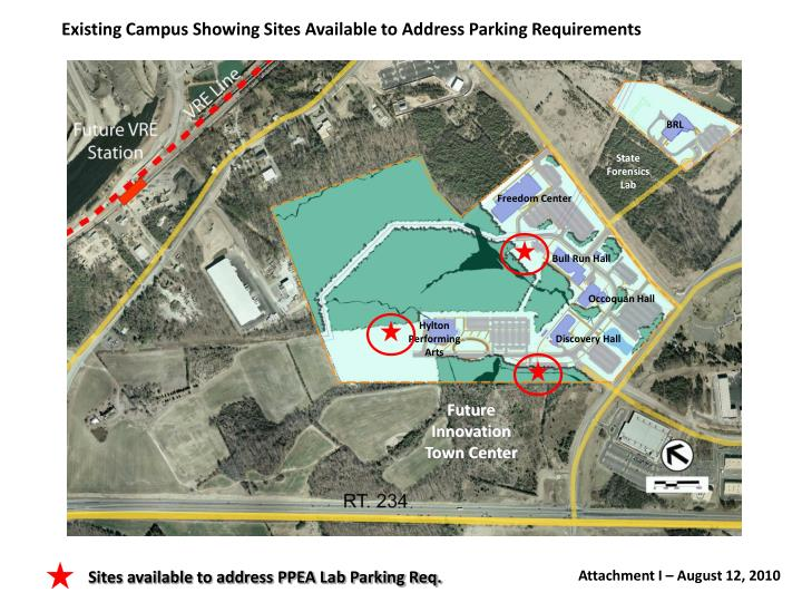 Existing Campus Showing Sites Available to Address Parking Requirements