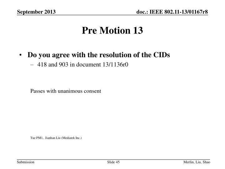 Pre Motion 13