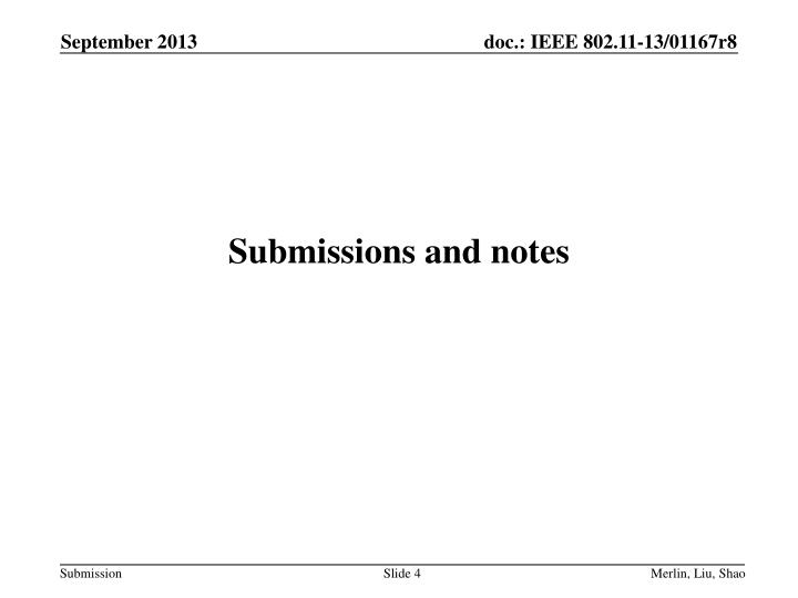 Submissions and notes