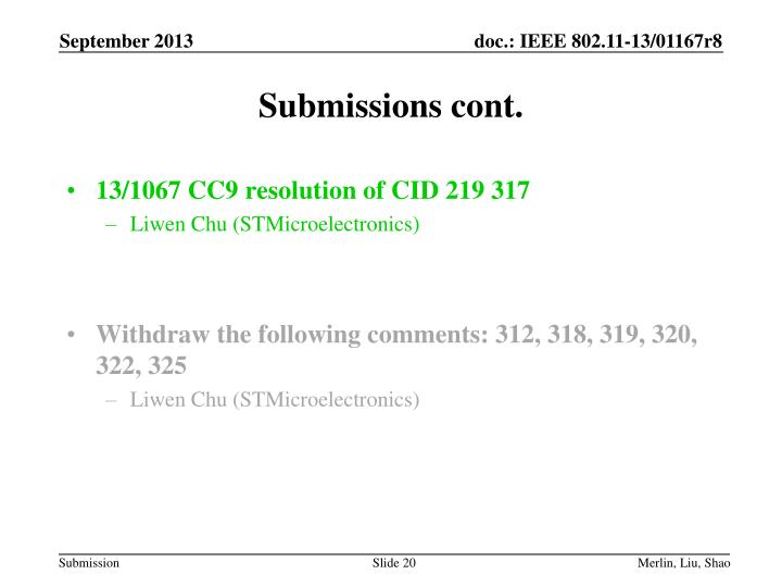 Submissions cont.