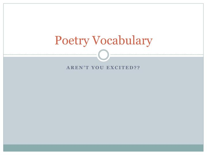 poetry vocabulary n.