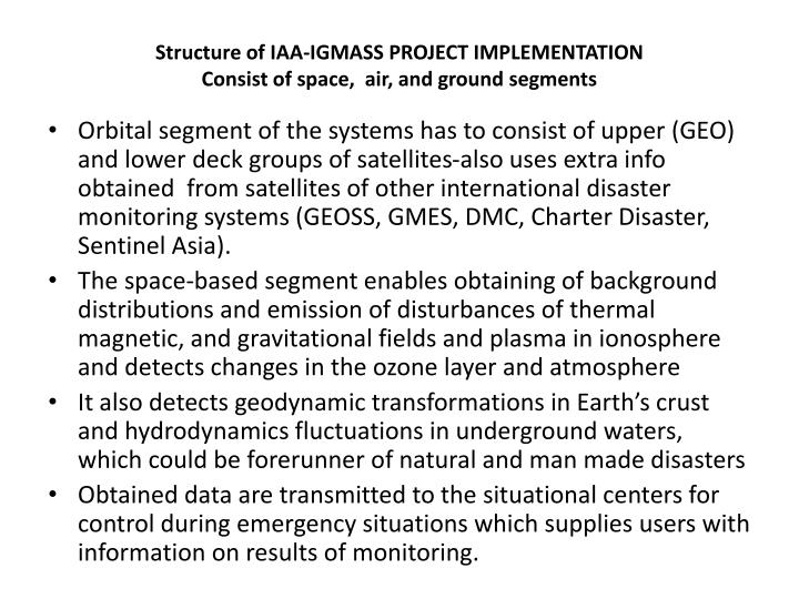 Structure of IAA-IGMASS PROJECT IMPLEMENTATION