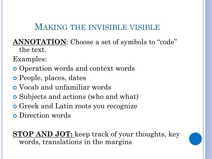 Making the invisible visible