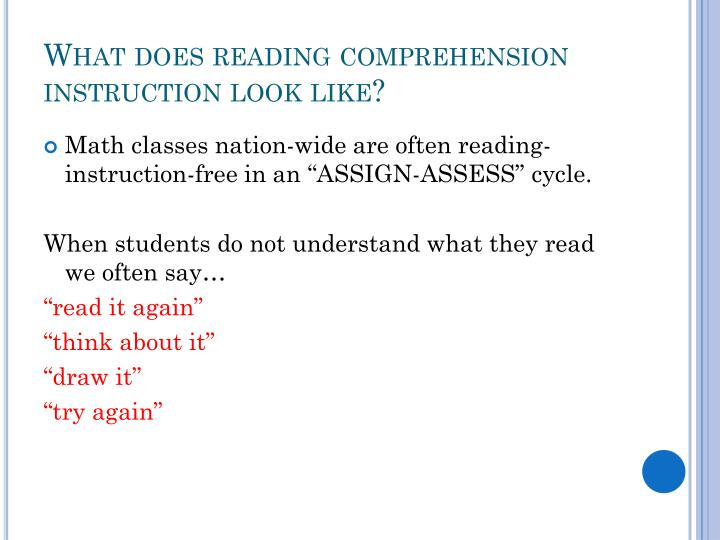 What does reading comprehension instruction look like?