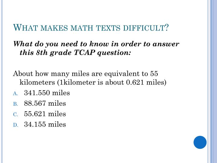 What makes math texts difficult?