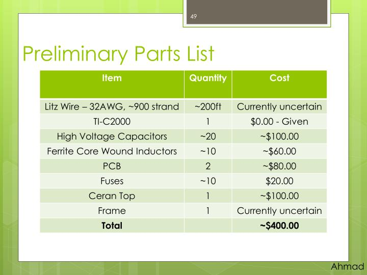 Preliminary Parts List