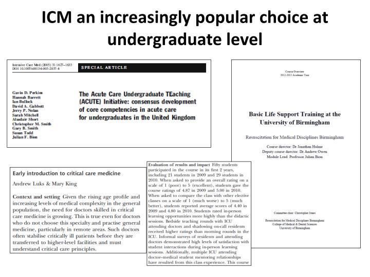 ICM an increasingly popular choice at undergraduate level