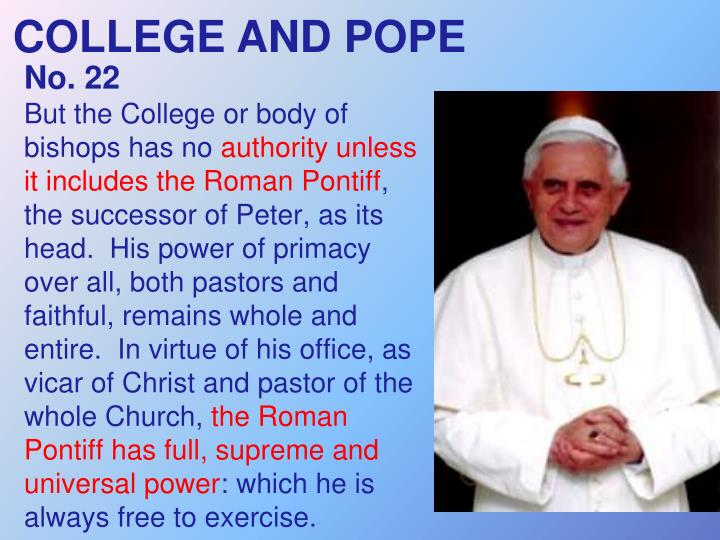 COLLEGE AND POPE